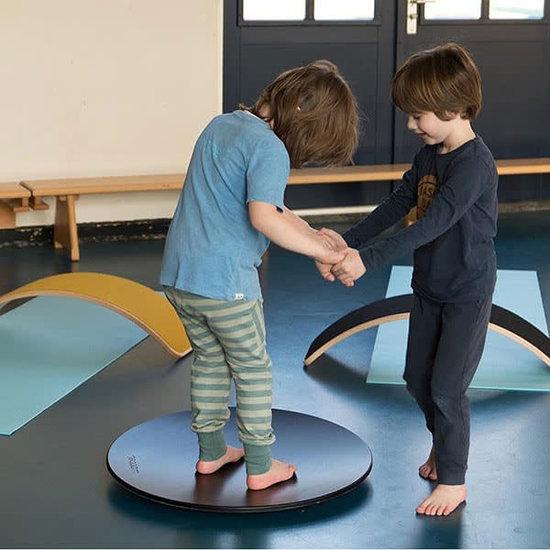 Wobbel Balance Board - Wobbel Pro - Klarlackiert mit Filz - Senf