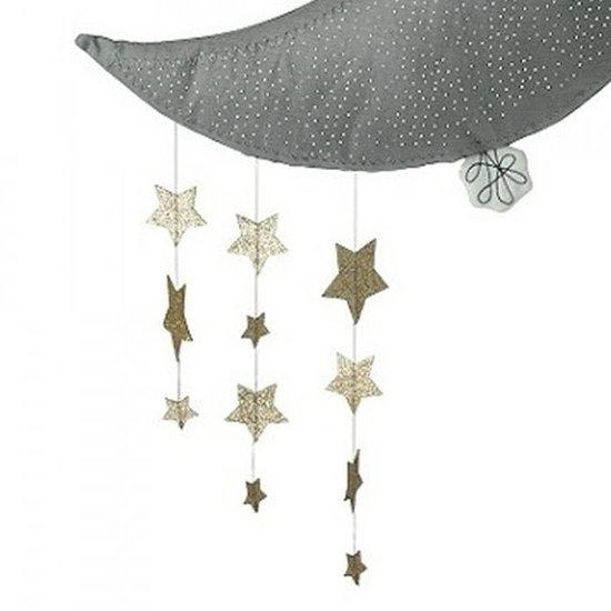 Picca Loulou Dekoration Mond mit Sternen - grau - 45 cm - Picca Loulou