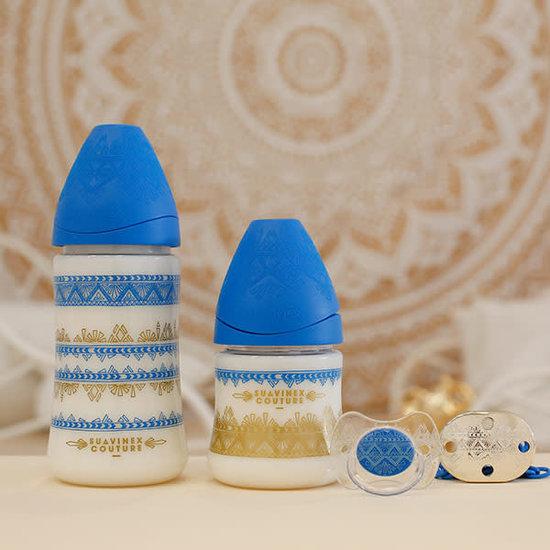 Suavinex Baby bottle silicone physiological 150ml +0M Couture dark blue Suavinex