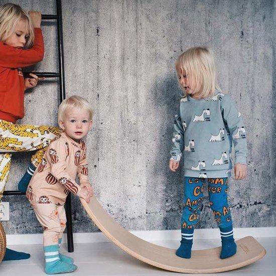 Wobbel Balance Board - Wobbel Pro - Klarlackiert mit Filz - Luft-blau (