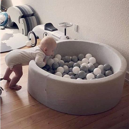 Little Thingz Ballenbad - grijs - incl 200 ballen wit-parel-grijs-zilver