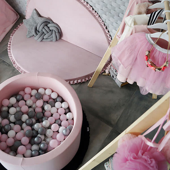Little Thingz Ballenbad rond roze - incl 200 ballen baby roze-wit-parel-grijs-zilver