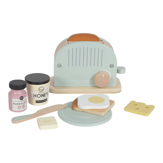 Little Dutch Houten broodrooster - toaster mint - 10-delig - Little Dutch +3jr