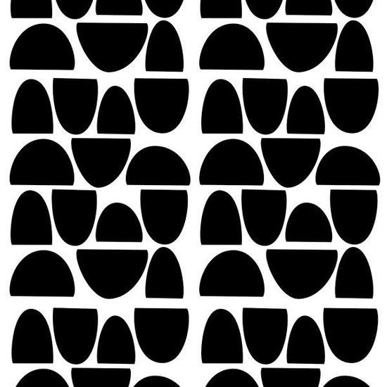 Pom Le Bonhomme Muurstickers halve cirkels zwart - Pöm Le Bonhomme - set 84 stickers