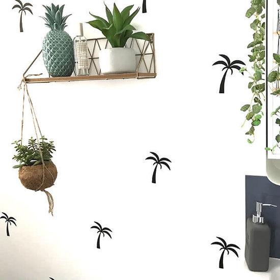 Pom Le Bonhomme Muurstickers palmbomen zwart - Pöm Le Bonhomme - set 24 stickers
