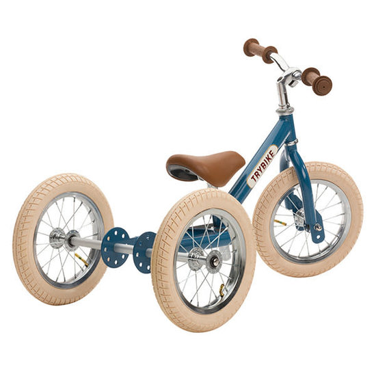 Trybike Loopfietsen Trybike Steel 2-in-1 loopfiets Vintage Blauw