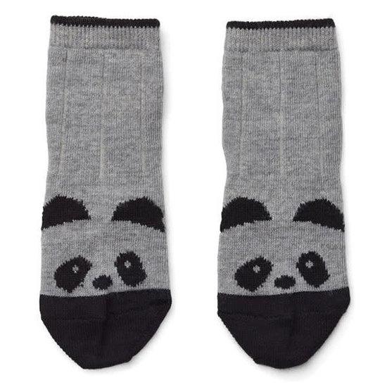 Liewood Socks Silas - panda - grey melange - Liewood