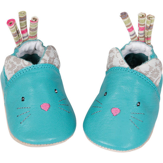 Moulin Roty Moulin Roty - Les Pachats - leather baby shoes cat blue