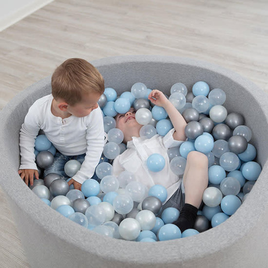 Little Thingz Bällebad - rund grau - inkl 200 bälle grau-pastel blau-weiss-silber-Perle