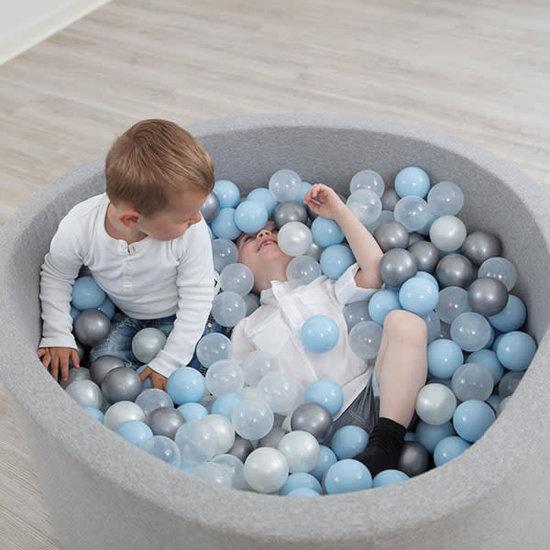 Little Thingz Ballenbad - grijs - incl 200 ballen wit-parel-grijs-zilver-baby blue