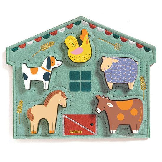 Djeco Reliëf puzzel Mowy boerderijdieren - Djeco