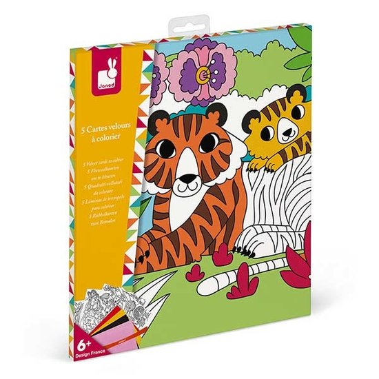 Janod speelgoed Velvet colouring pictures - Janod