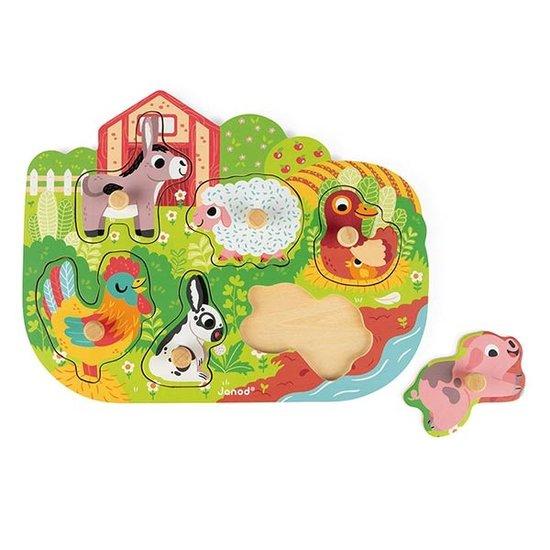 Janod speelgoed Knoppuzzel boerderij Happy Farm - Janod