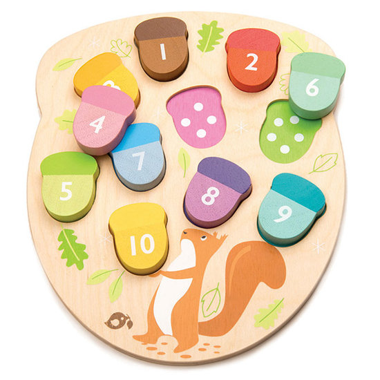 Tender Leaf Toys Houten puzzel Tel de eikels - Tender Leaf Toys
