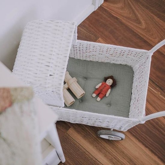 Olli Ella Poppenwagen matras sage - Olli Ella