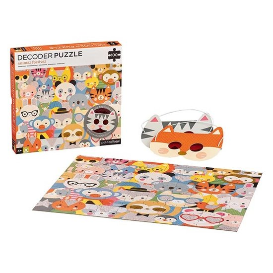 Petit Collage Petit Collage Decoder Puzzle Tierfest 100T