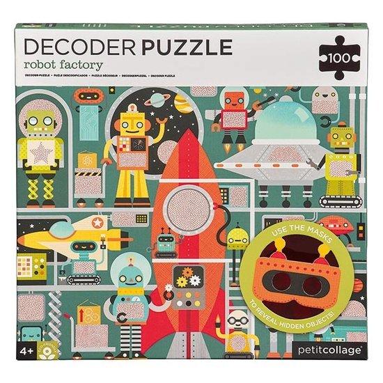 Petit Collage Petit Collage Decoder Puzzle Roboter Fabrik 100T