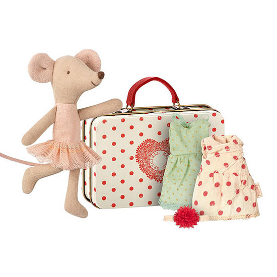 Maileg Maileg ballerina mouse in suitcase with 2 dresses
