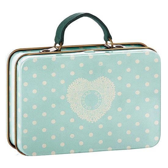 Maileg Maileg valise métal mint cream dots