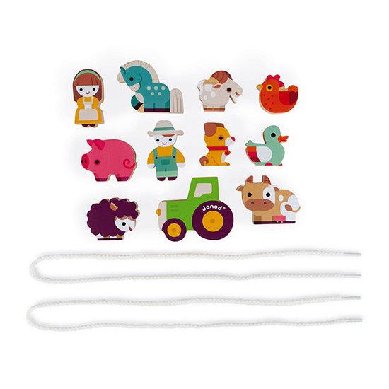 Janod speelgoed Fädelspiel Bauernhof - Janod