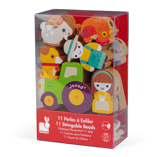 Janod speelgoed Perles à enfiler ferme - Janod