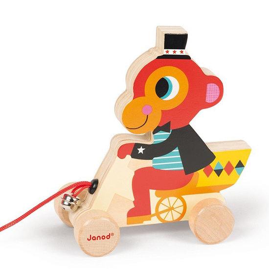 Janod speelgoed Pull along toy Circus monkey - Janod