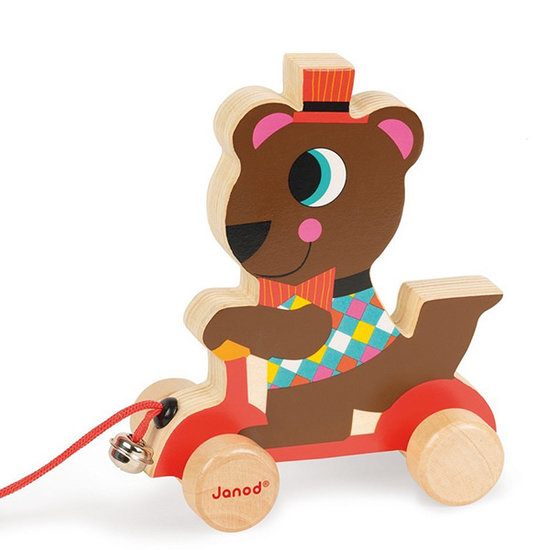 Janod speelgoed Jouet à tirer Ours de cirque - Janod