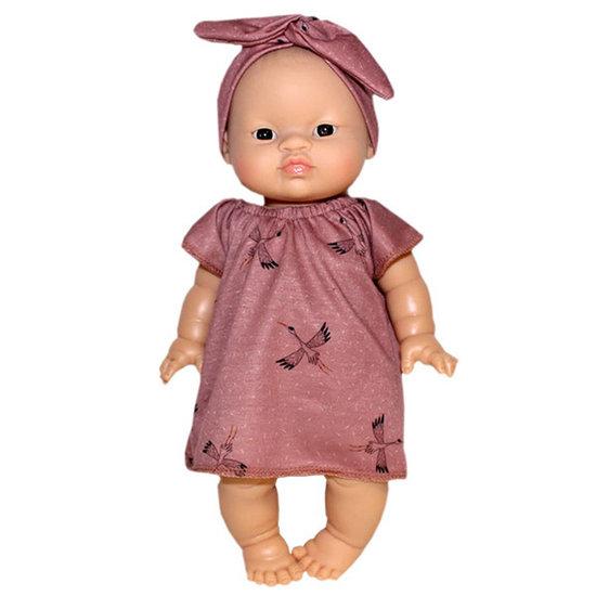 Minikane Doll dress Augustine Cigognes w headband Minikane