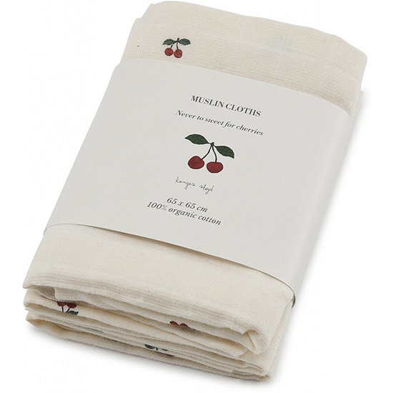 Konges Sløjd Muslin cloths Cherry 3 pack - Konges Sløjd