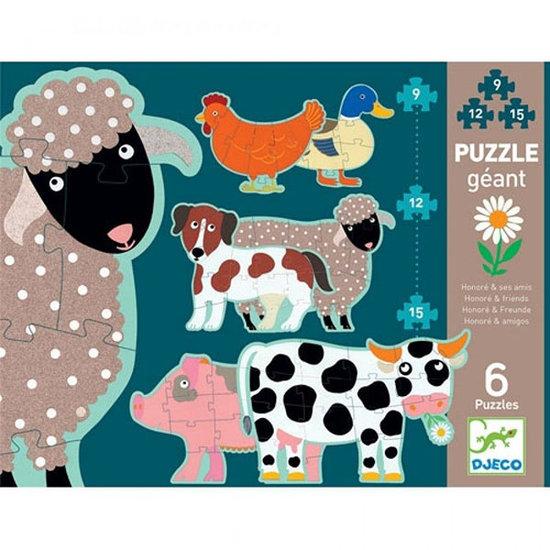 Djeco Djeco puzzle géant Honoré et ses amis 9-12-15pcs