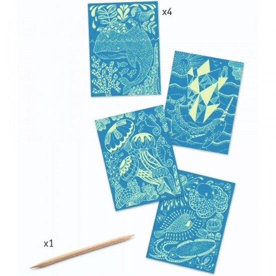 Djeco Djeco cartes à gratter phosphorescent Sea life +6a