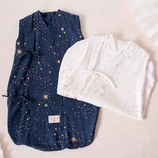 Nobodinoz tipi en accessoires Nobodinoz Dreamy zomerslaapzak Gold Stella-Blue