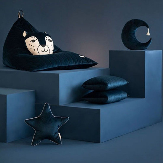 Nobodinoz tipi en accessoires Kussen Pierrot Moon Velvet Night Blue - Nobodinoz