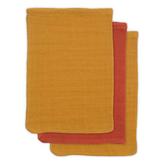 Jollein Jollein bamboe washandje Mustard rust 3pack