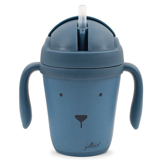 Jollein Jollein drinking cup bamboo Animal club steel blue