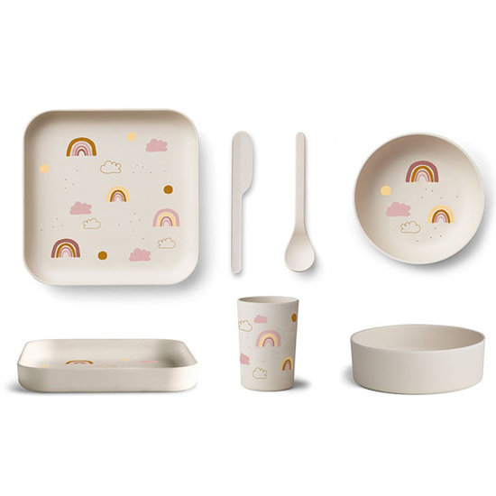 Liewood Bambus Kinder-Geschirr Aiko Rainbow creme - Liewood