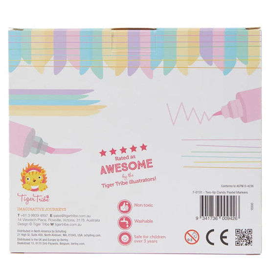 Tiger Tribe Tiger Tribe Two Tip Candy Pastel markers 6pcs