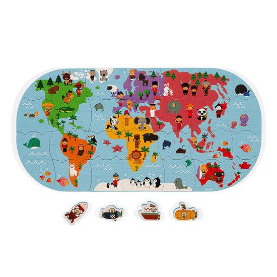 Janod speelgoed Janod badpuzzelpuzzel wereldkaart 28st +3jr