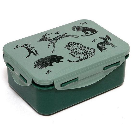 Petit Monkey Lunch box Black animals sage - Petit Monkey