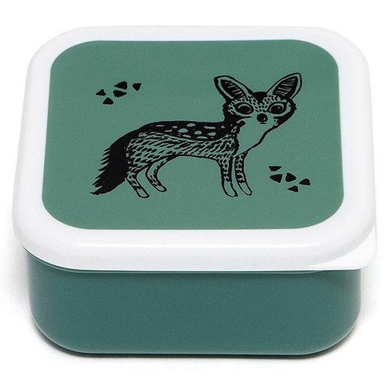 Petit Monkey Lunch box set Black animals sage - Petit Monkey