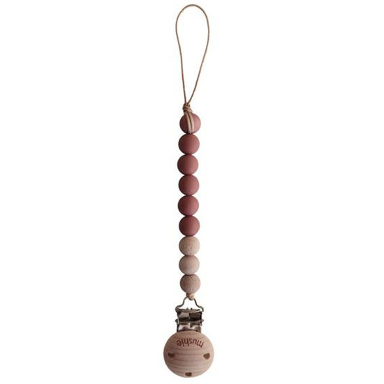 Mushie Mushie pacifier clip Cleo - red and wood