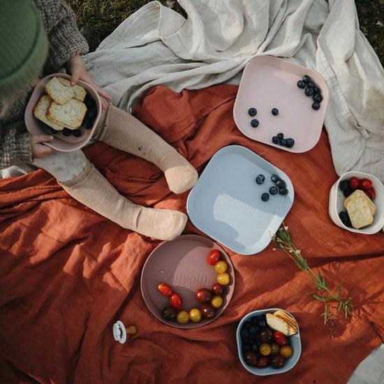 Mushie Mushie quadratisch Geschirr Teller 2er Set - Blush