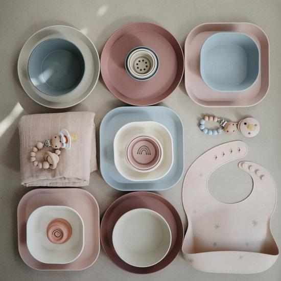 Mushie Mushie vierkante borden set van 2 - Ivory