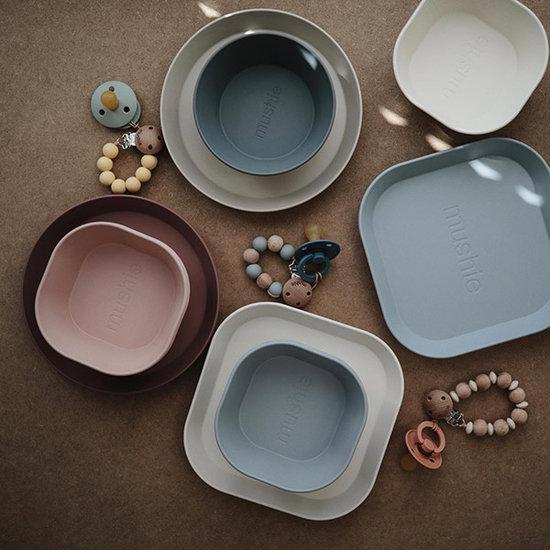 Mushie Mushie square dinnerware bowls 2 pack - Cloud