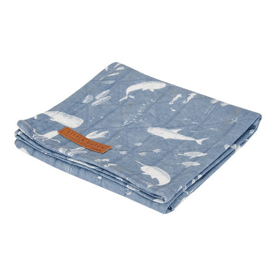 Little Dutch Little Dutch swaddle doek 120 x 120 - Ocean Blue