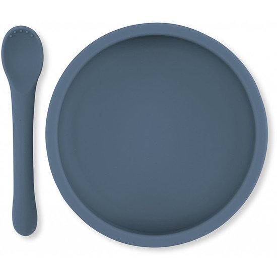 Konges Slojd Konges Slojd siliconen bord en lepel - Blue