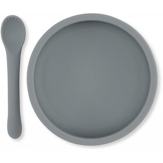 Konges Slojd Konges Slojd siliconen bord en lepel - Light blue