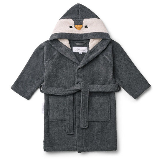 Liewood Bademantel Kinder Penguin Stone grey - Liewood