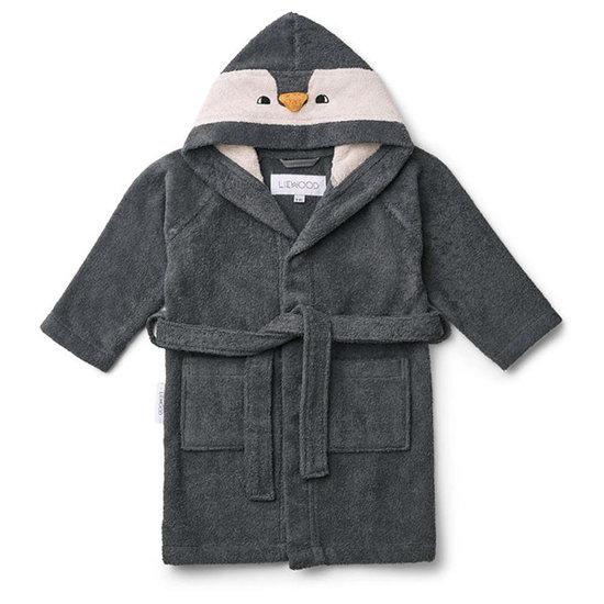 Liewood Bathrobe Penguin Stone grey - Liewood