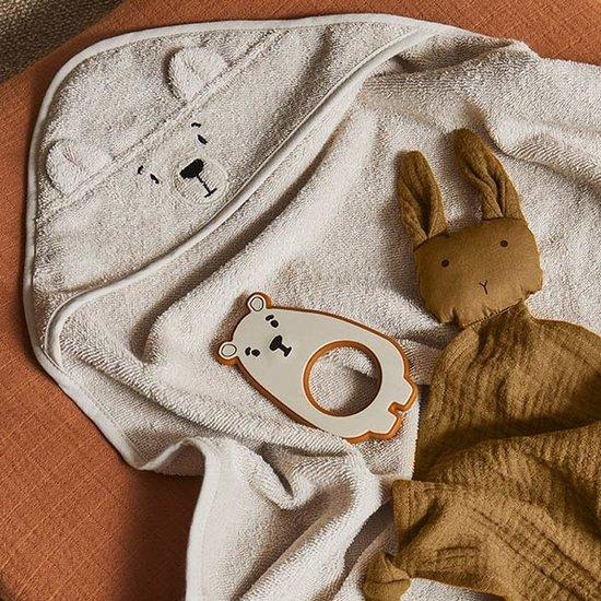 Liewood Baby towel Albert Polar Bear sandy 70cm - Liewood